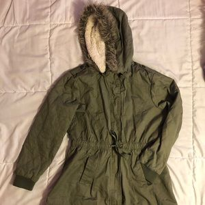 Olive Green coat w/ removable hood